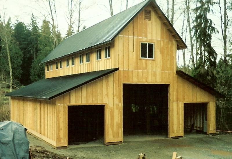 L seven construction 1 llc two story garages shops for Two story pole barn homes